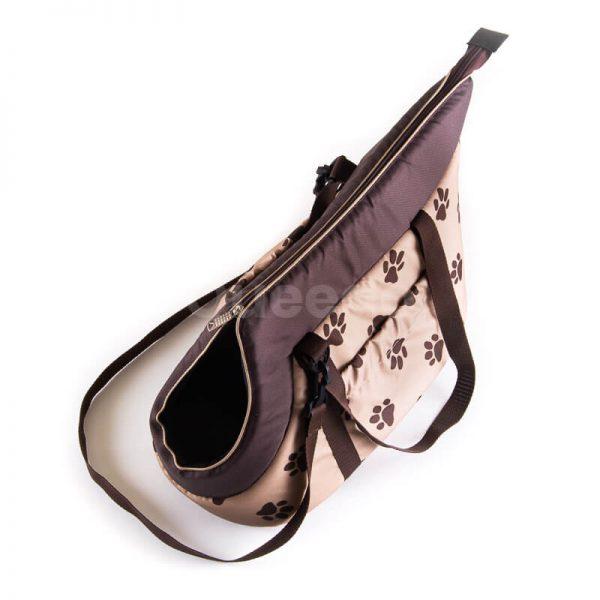 Nádherná béžová prepravná taška pre psa labky