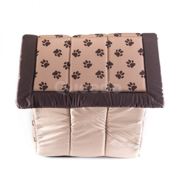 Krásny béžový textilný domček pre psa labky