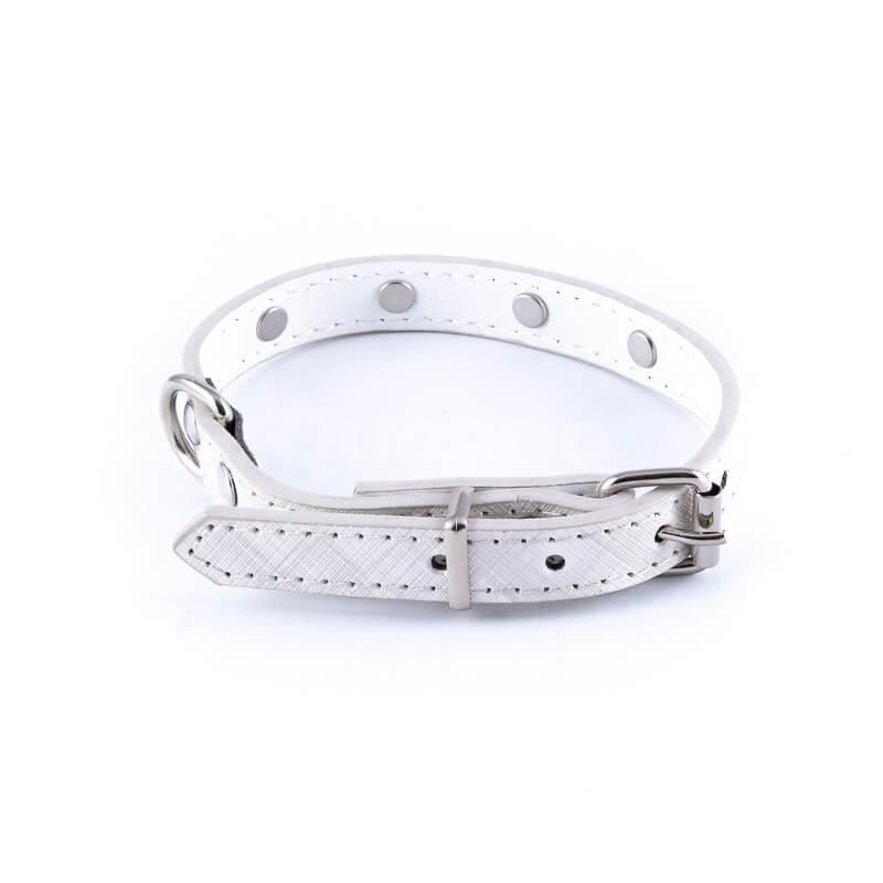Nádherný kožený psí obojok veľké diamanty biely