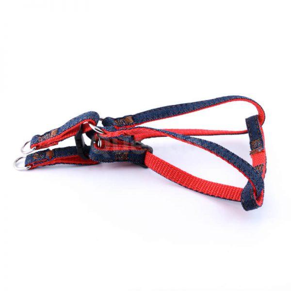 Kvalitné popruhy pre psa denim červené