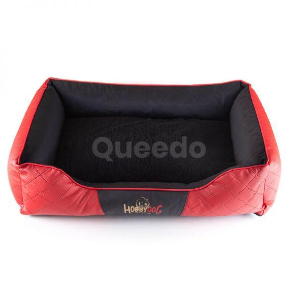 Pohodlný kožený pelech pre psov Cesar Exclusive červeno čierny