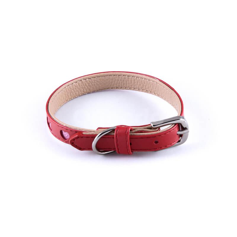 Elegantný kožený psí obojok výrez červený