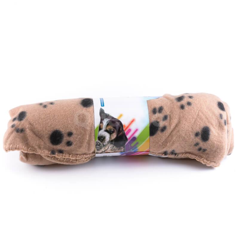 Praktická a pohodlná deka pre psa labky béžová