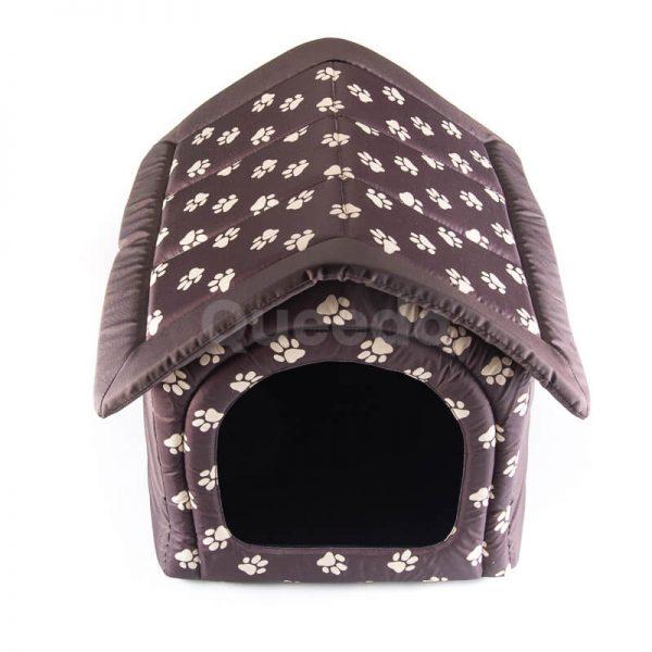 Elegantný dom pre psa labky textil hnedý