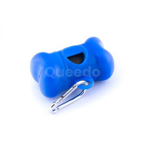 Praktické púzdro na sáčky na exkrementy kosť modrej farby