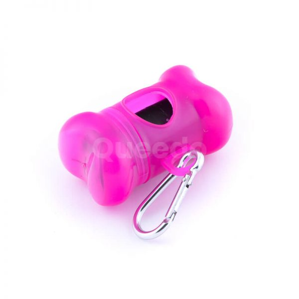 Praktické púzdro na sáčky na exkrementy kosť ružovej farby