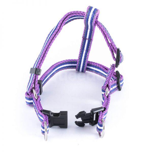 Praktické popruhy pre psa pásik reflex fialové