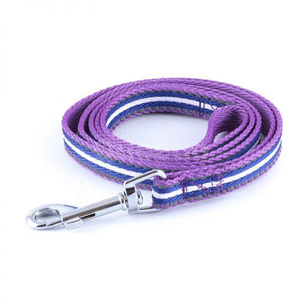 Elegantné vodítko pre psa pásik reflex fialovej farby