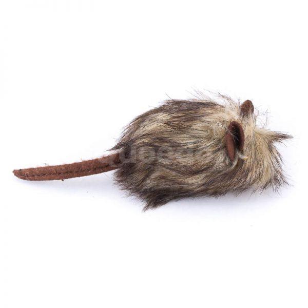 Kvalitná myš chlpatá hračka pre mačku hnedá