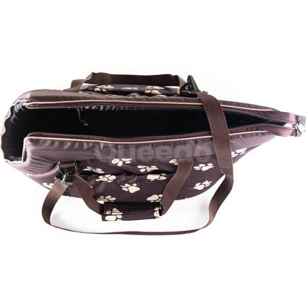 Elegantná hnedá kabelka pre psa labky