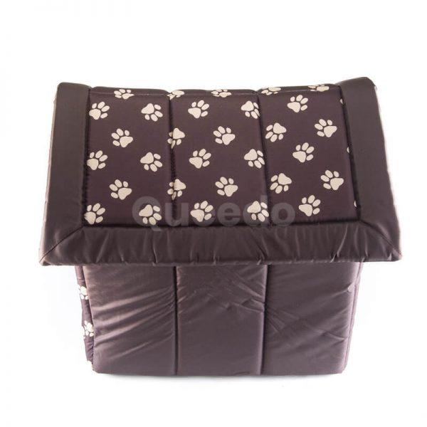 Nádherný hnedý textilný domček pre psa labky