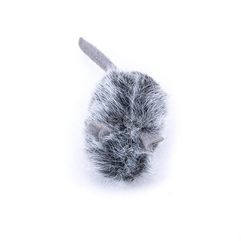 Kvalitná hračka pre mačku myš chlpatá šedá