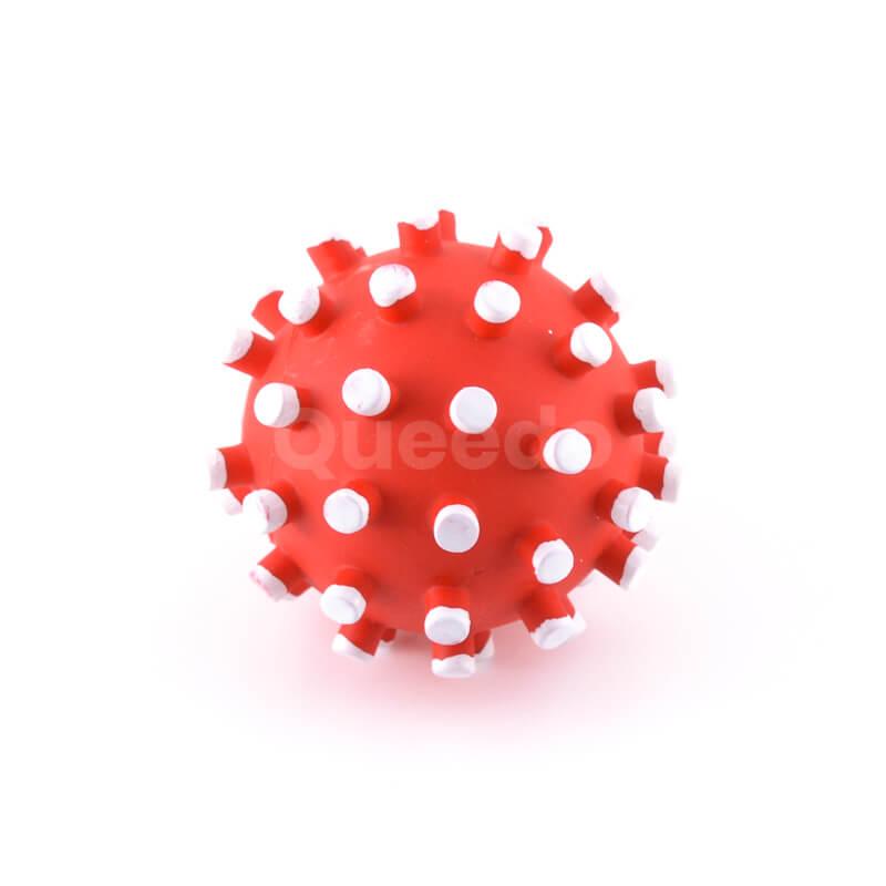 Zábavná hračka pre psa loptička biele pichliače červená