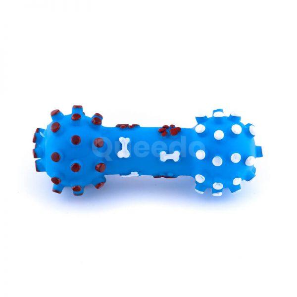 Zábavná hračka pre psa kosť pichliače menšia modrej farby