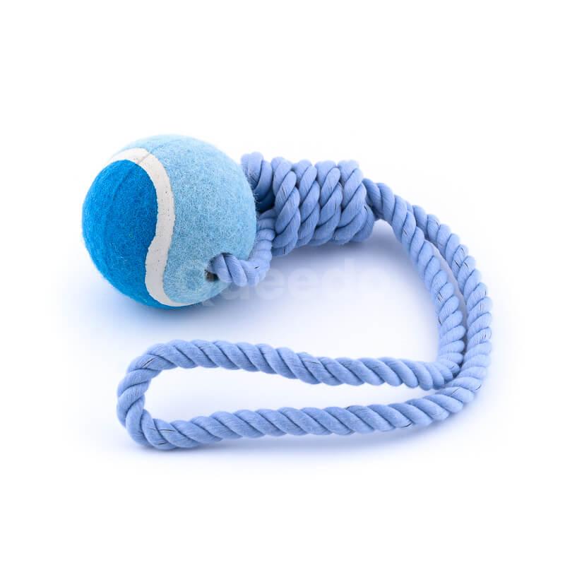 Zábavná hračka pre psa lopta lano modrej farby