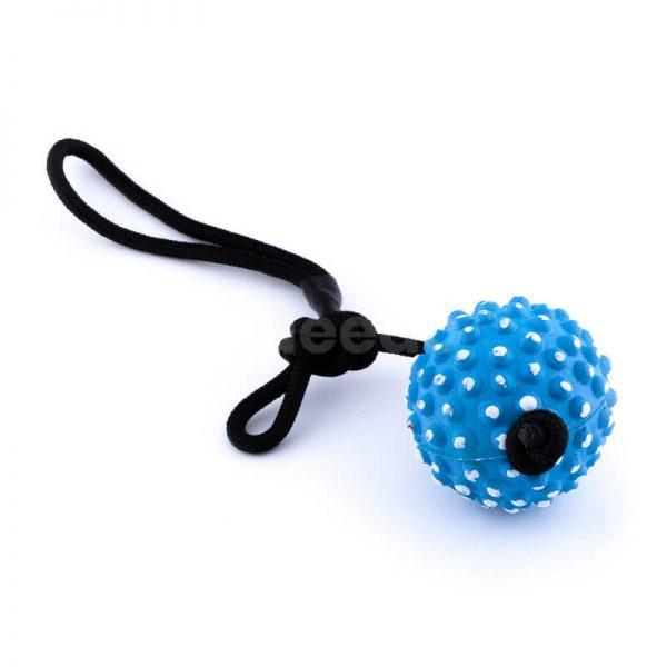 Kvalitná hračka pre psa lano lopta pichliače modrá