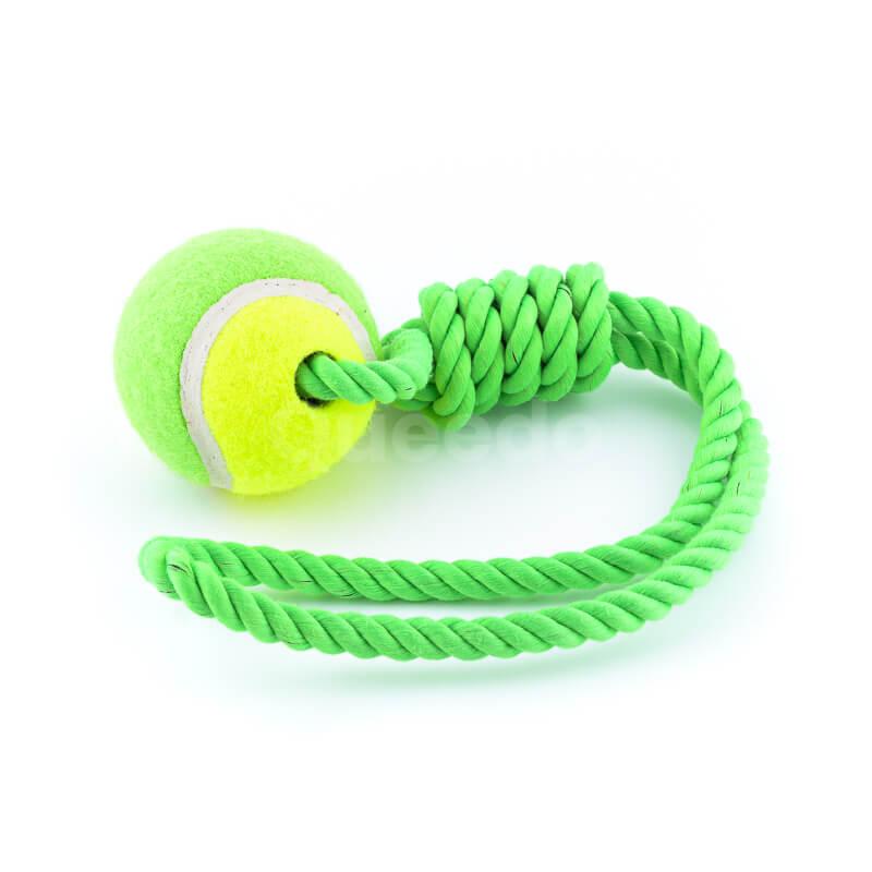 Zábavná hračka pre psa lano lopta zelenej farby