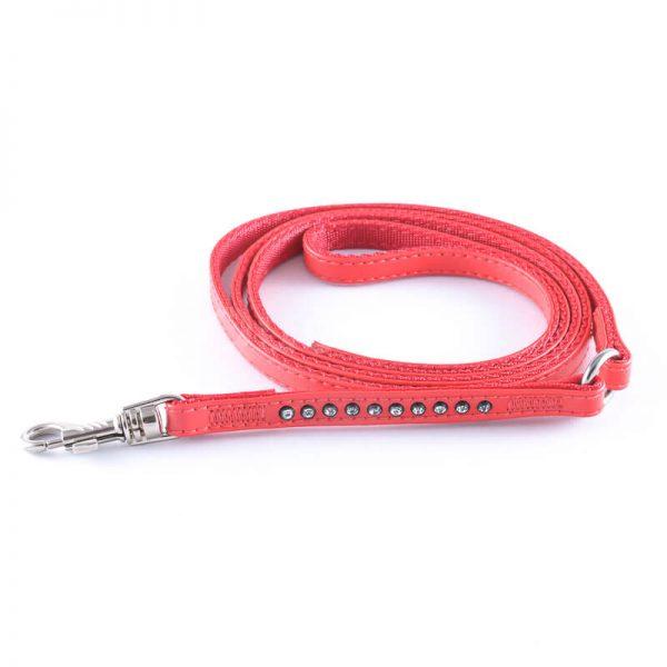 Elegantné kožené vodítko pre psa diamanty červenej farby