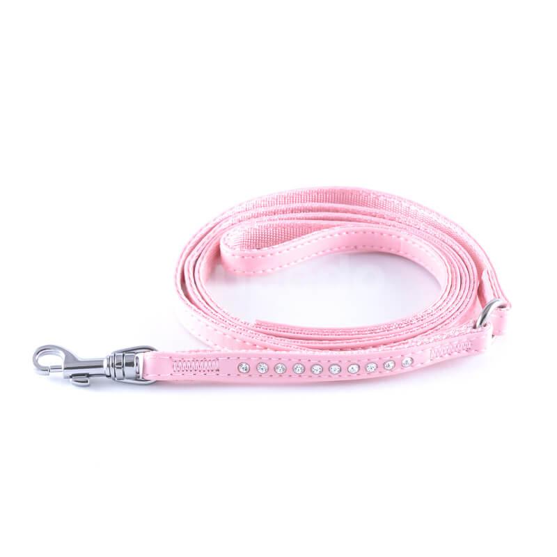 Krásne a odolné kožené vodítko pre psa diamanty ružové
