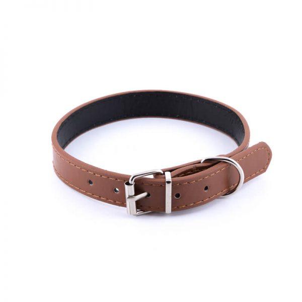 Kvalitný hnedý kožený obojok pre psa basic