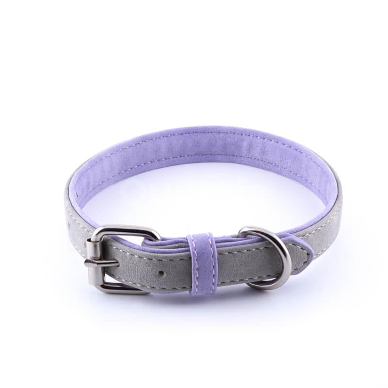 Nádherný kožený obojok pre psa dvojitá koža šedý