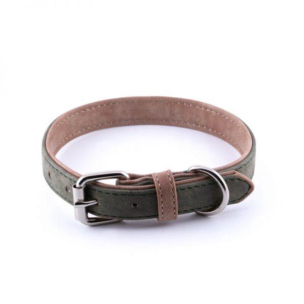 Vkusný kožený obojok pre psa dvojitá koža tmavozelený