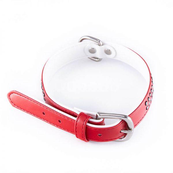 Estetický kožený obojok pre psov malé diamanty väčší červený
