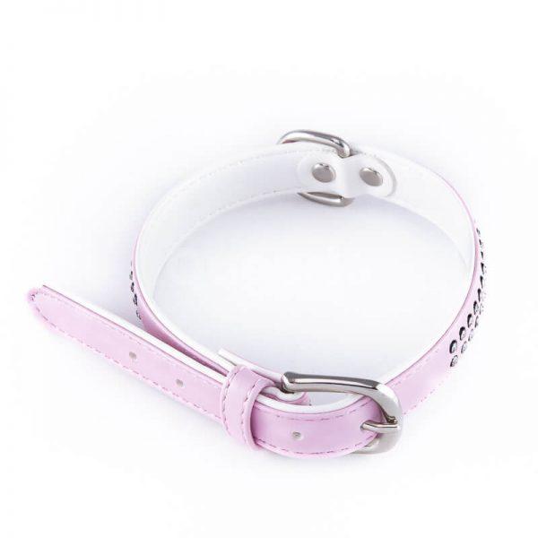 Elegantný a moderný kožený obojok pre psov malé diamanty väčší ružový