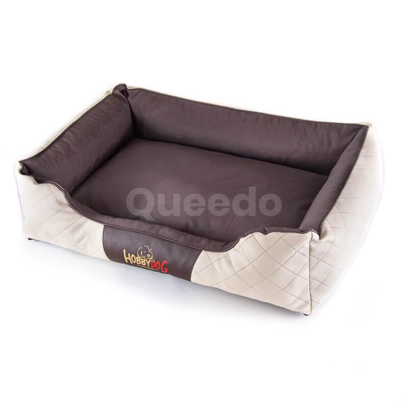Kvalitný kožený pelech pre psa Cesar Perfect béžovo hnedý