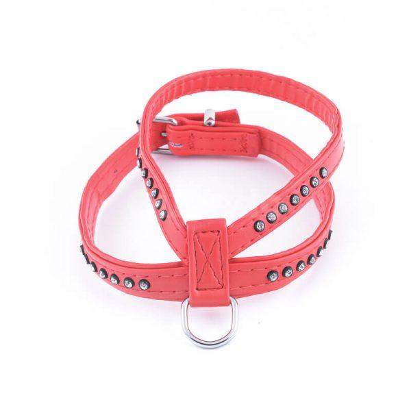 Estetický kožený postroj pre psa diamanty červený