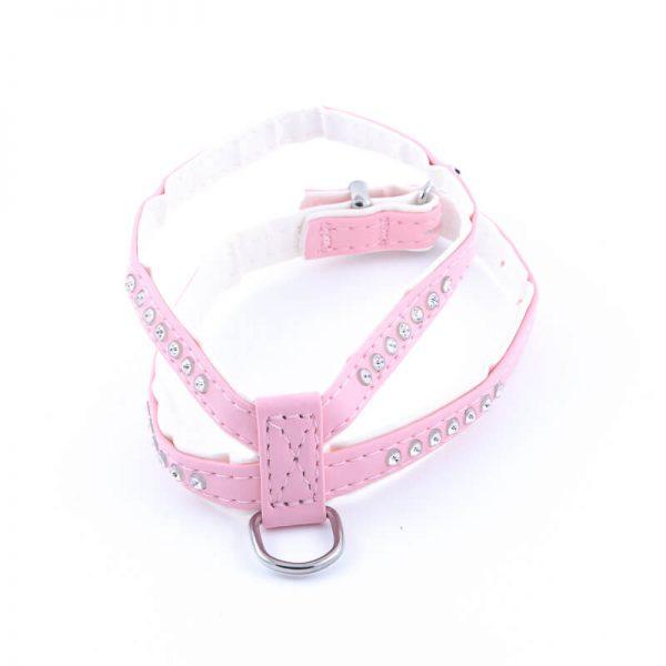 Kvalitný kožený postroj pre psa diamanty ružový