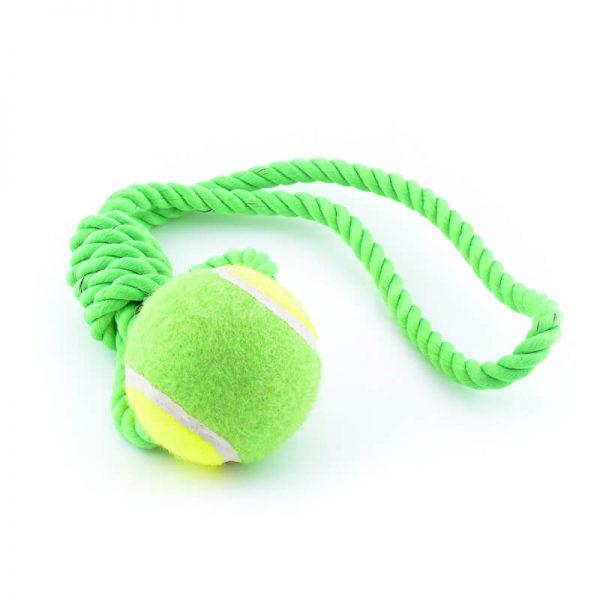 Praktická hračka pre psa lopta na lane zelená