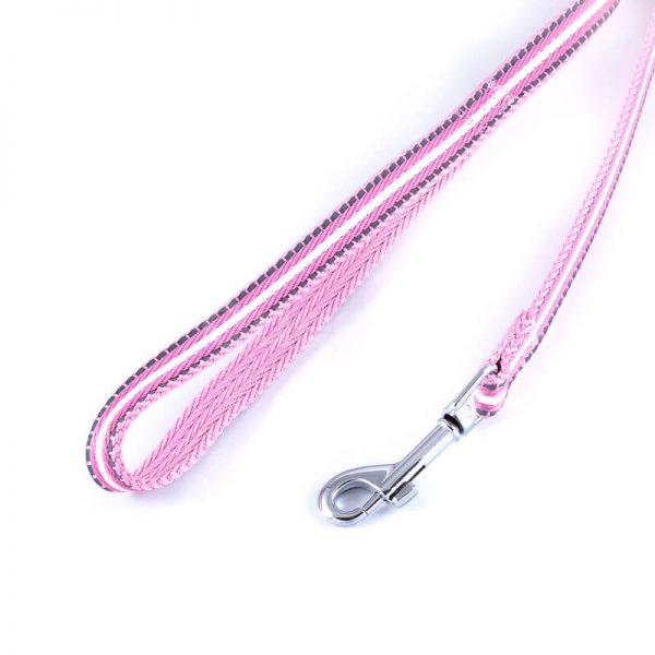 Odolné reflexné vodítko pre psa pásik reflex ružové