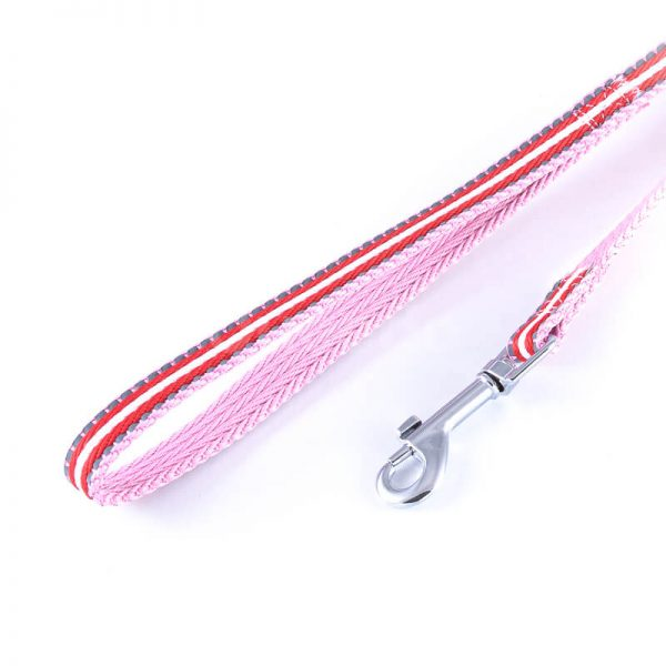 Elegantné reflexné vodítko pre psa pásik reflex ružovo červené