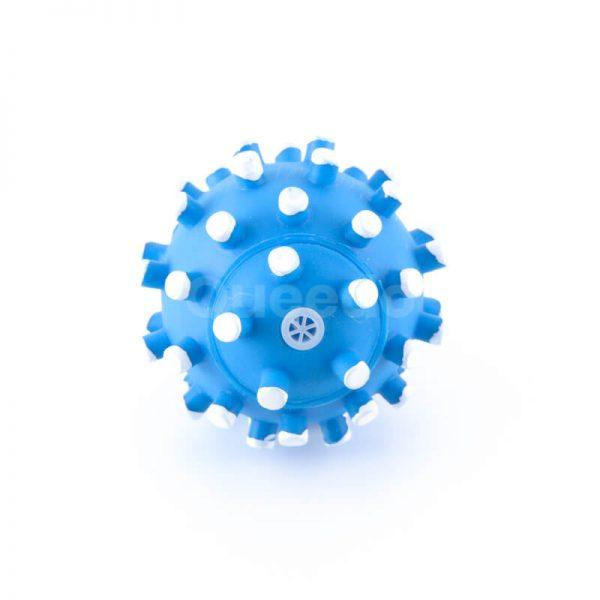 Zábavná lopta pre psa modrá s bielymi pichliačmi