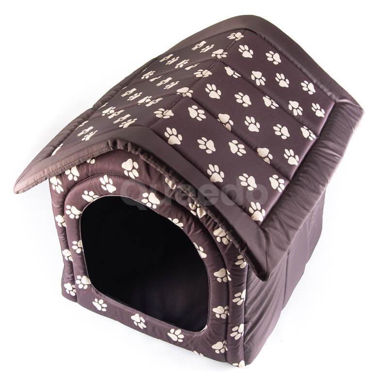 Krásny textilný domček pre mačky labky hnedý