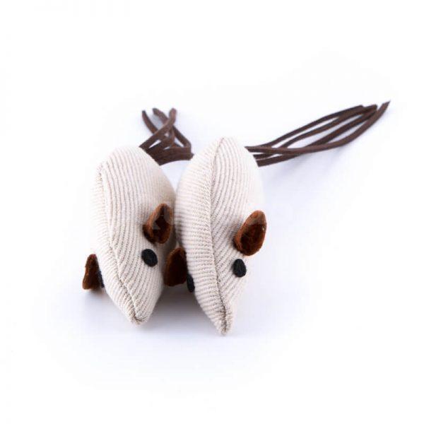 Zábavná mačacia hračka béžová myška