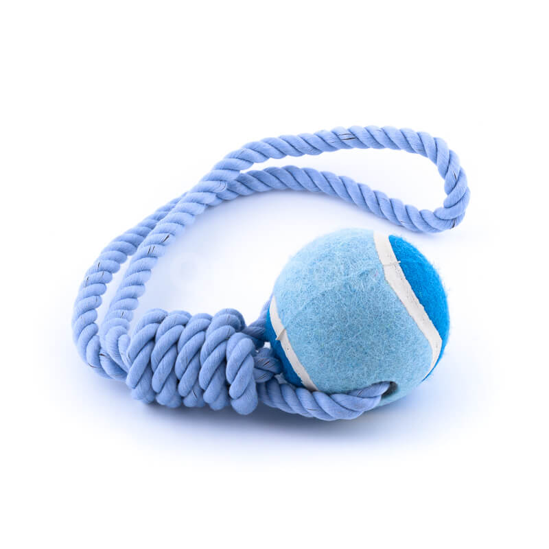Praktická psia hračka lano lopta modrá