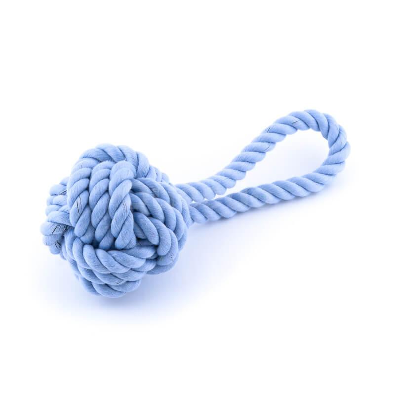 Praktická modrá hračka pre psa lano uzol