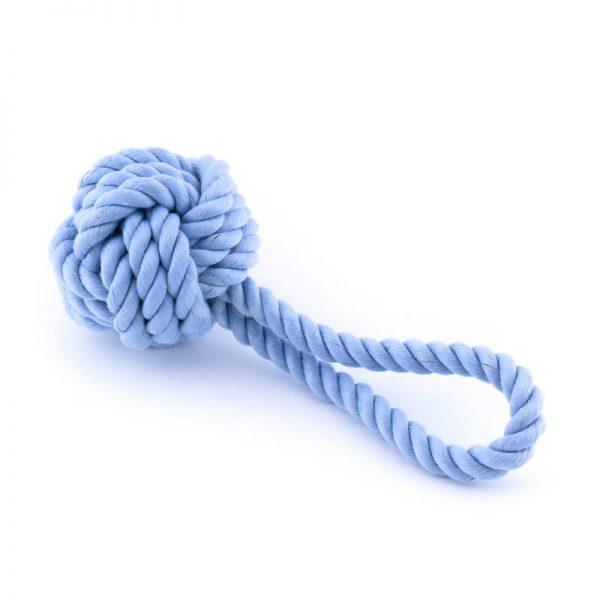 Zábavná psia hračka lano uzol modrá