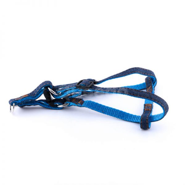 Vkusné popruhy pre psa denim modré