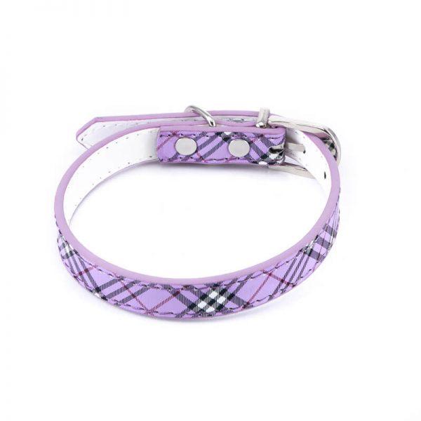 Odolný obojok pre psa kožený vzor fialový