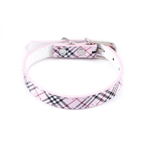 Moderný obojok pre psa kožený vzor ružový