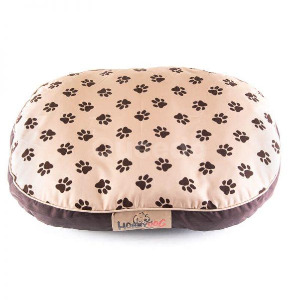 Nádherný oválny matrac pre psa labky béžový