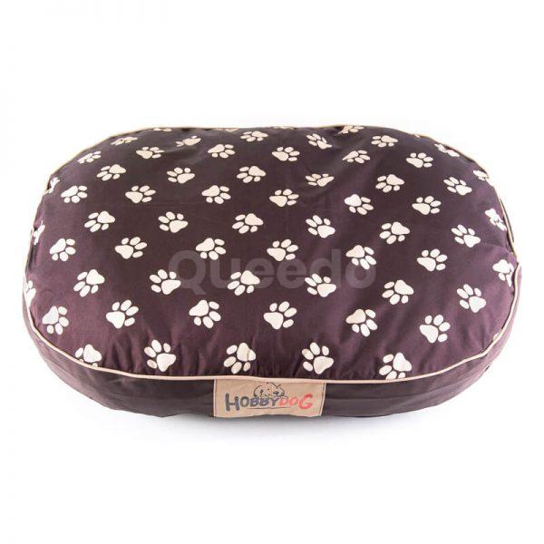 Pohodlný oválny matrac pre psa labky hnedý
