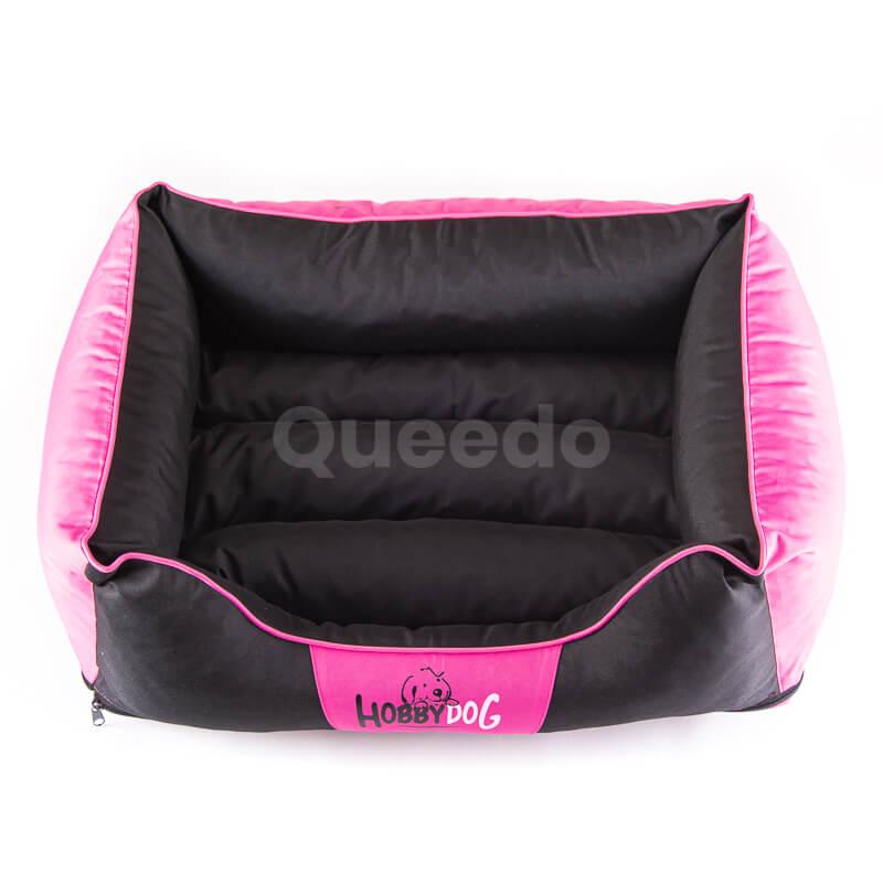 Krásny ružový pelech pre psa Comfort s čiernou