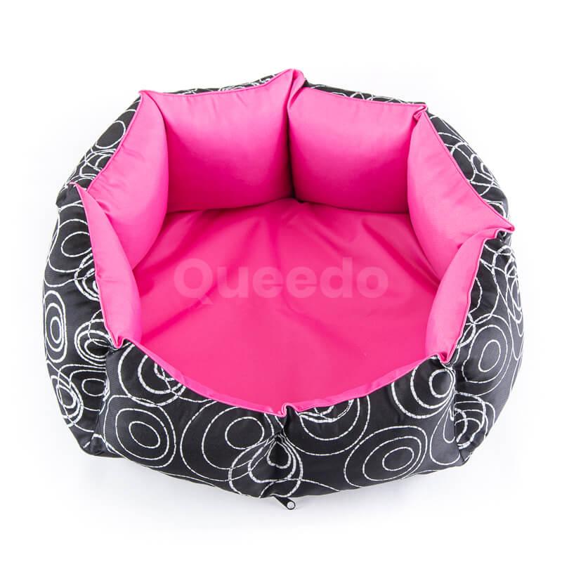 Nádherný ružový pelech pre psa New York s čiernou