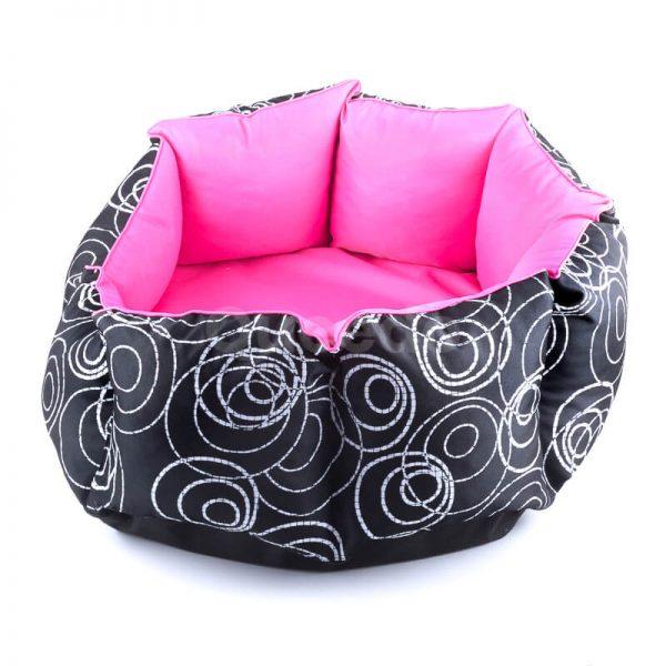 Kvalitný ružový pelech pre psov New York s čiernou