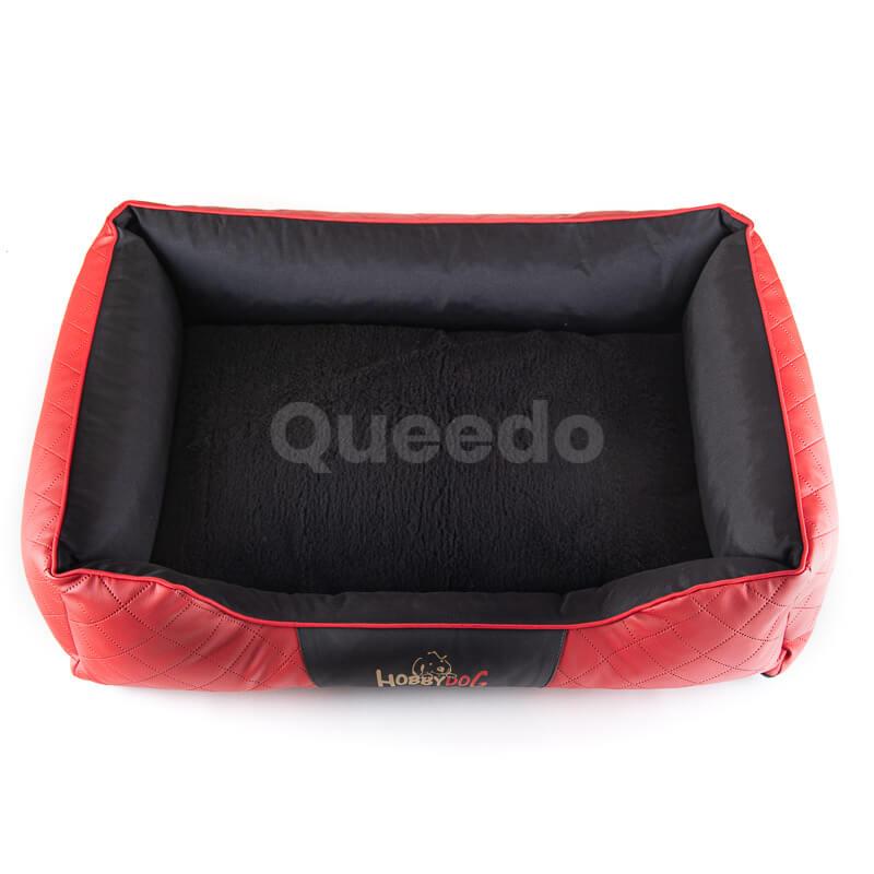 Krásny kožený pelech pre psa Cesar Exclusive červeno čierny