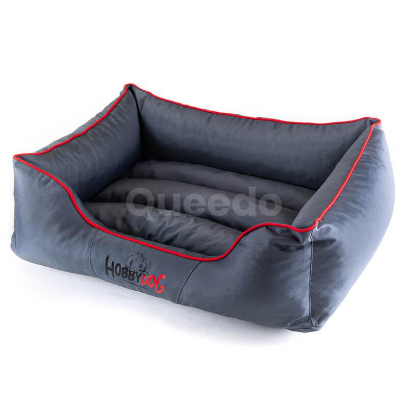 Krásne pelechy pre psov Comfort šedé červené lemo